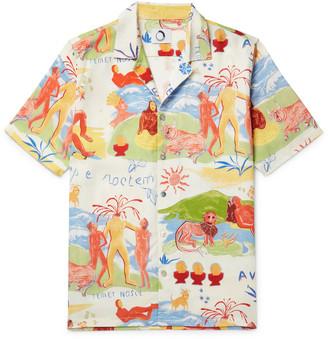 Temet Nosce Aloha Camp-Collar Printed Tencel Shirt