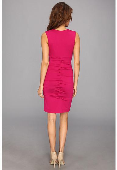 Nicole Miller Dakota V-Neck Pleated Dress