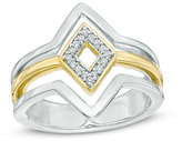 Zales Diamond Accent Triple Row Geometric Diamond Shape Ring in Sterling Silver and 10K Gold