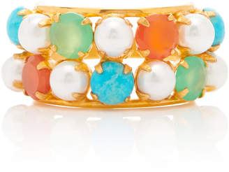 Bounkit 14K Gold-Plated, Pearl and Multi-Stone Ring