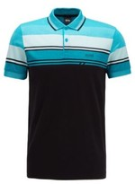 HUGO BOSS - Slim Fit Polo Shirt With Structured Stripes - Black