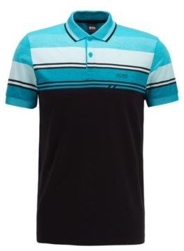 Slim-fit polo shirt with structured stripes
