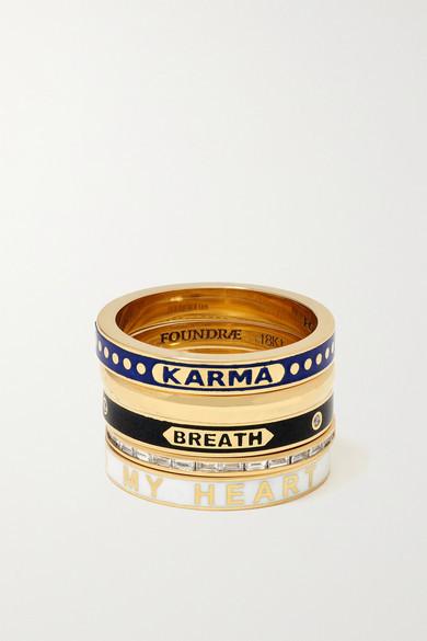 Foundrae Set Of Five 18-karat Gold, Enamel And Diamond Rings - 7