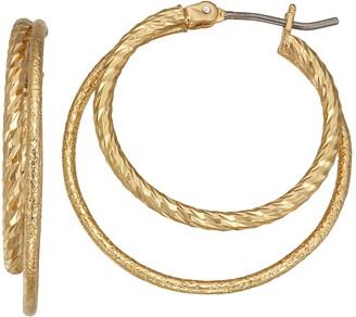 Napier Gold Tone Textured Double-Hoop Earrings