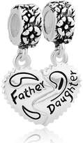 Lucky Brand LuckyJewelry Father Daughter Dangle Charms - Sterling Silver - fits Pandora, Biagi & Troll bracelets