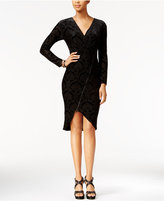 Rachel Roy Velvet Burnout Faux-Wrap Dress