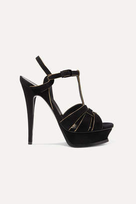 Saint Laurent Tribute Metallic Leather-trimmed Suede Platform Sandals - Black