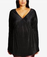 City Chic Trendy Plus Size Velvet Micro-Pleat Top