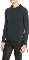 Frame Side-Tie Cropped Sweater, Spruce
