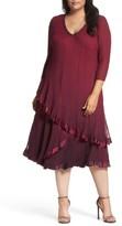 Komarov Plus Size Women's Tiered Ombre Charmeuse & Chiffon Dress