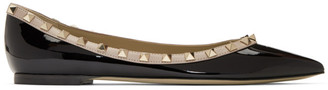 Valentino Black Garavani Patent Rockstud Ballerina Flats