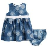 Calvin Klein Baby Bow Accented Chambray Dress with Bloomers