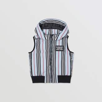 Burberry Detachable Hood Icon Stripe Down-filled Gilet