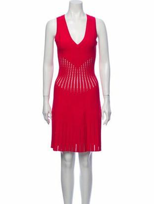 Alaia V-Neck Knee-Length Dress Pink