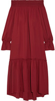 Theory Off-the-shoulder Smocked Silk-jersey Midi Dress - Claret