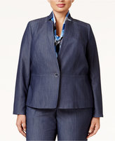 Nine West Plus Size One-Button Denim Blazer