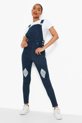 boohoo Slim Fit Distressed Denim Overall
