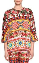 Dolce & Gabbana Mambo-Print 3/4-Sleeve Tunic, Red/Yellow/Blue