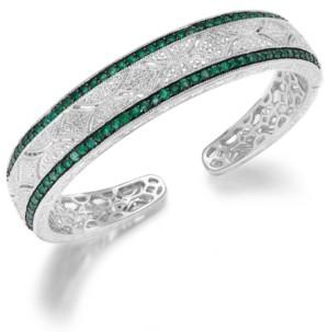 Macy's Emerald (1-1/3 ct. t.w.) and Diamond (1/10 c.t. t.w.) Cuff Bangle Bracelet in Sterling Silver