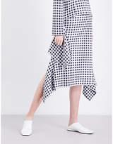 Rosetta Getty Asymmetric gingham woven skirt