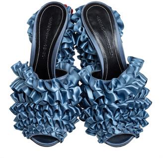 Marco De Vincenzo Blue Satin Ruffle Mule Sandals Size 37.5