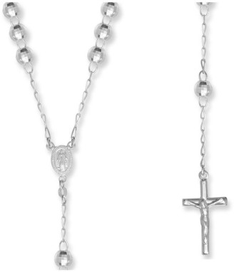 Jewel .925 Sterling Silver-faceted Disco Ball Rosary Beads Necklace