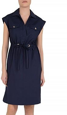 Gerard Darel Sole Drawstring Waist Cotton Shirt Dress