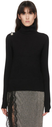 Christopher Kane Black Padlock Open Sleeve Turtleneck
