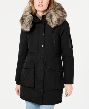 BCBGeneration Faux-Fur Trim Hooded Anorak Puffer Coat