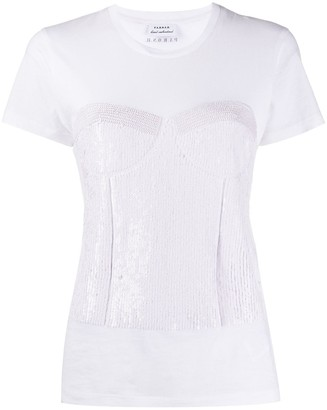 P.A.R.O.S.H. sequinned-corset cotton T-shirt
