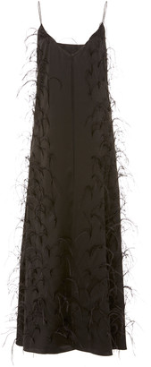 Michael Lo Sordo Ostrich Feather-Embellished Maxi Slip Dress