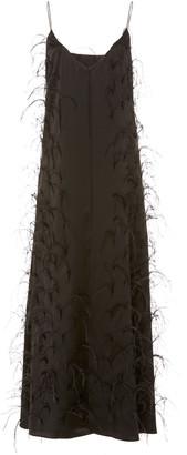 Michael Lo Sordo Ostrich Feather-Embellished Midi Slip Dress
