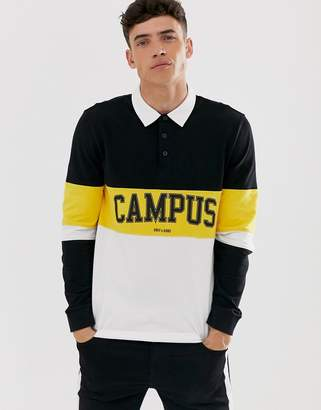 ONLY & SONS pique rugby polo with campus print-Black