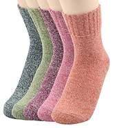 Womens Wool Socks Pack Cabin Socks Warm Cozy Casual Mid Calf Knit Casual Thick Thermal Crew Socks