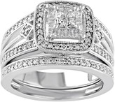 Unbranded Diamond Halo Engagement Ring Set in Sterling Silver (1/4 Carat T.W.)