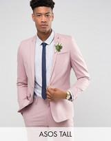 Asos Tall Wedding Skinny Suit Jacket In Dusky Pink