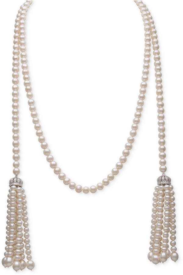 Belle de Mer White Cultured Freshwater Pearl (4-7mm) and Cubic Zirconia 42and#034; Tasseled Long Strand Necklace