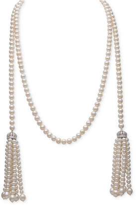 """Belle de Mer White Cultured Freshwater Pearl (4-7mm) and Cubic Zirconia 42"""" Tasseled Long Strand Necklace"""