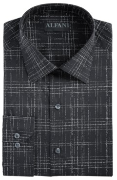 Alfani AlfaTech by Men's Slim-Fit Performance Stretch Modern Slub Print Dress Shirt, Created for Macy's