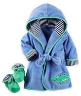 Carter's 2-Piece Alligator Robe and Booties Set in Blue/Green