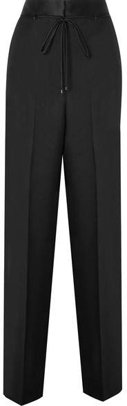 Bottega Veneta Silk Satin-trimmed Wool And Mohair-blend Wide-leg Pants - Black