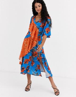 Liquorish midi dress in floral with contrast ruffle