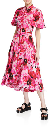 Alexander McQueen Floral Crepe de Chine Fluttered Cap-Sleeve Midi Dress