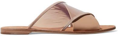 Diane von Furstenberg Bailie Suede-trimmed Leather And Pvc Slides - Beige