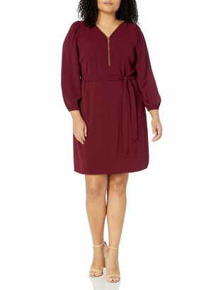 MSK Women's Plus Size L/s Zipper Front Dress