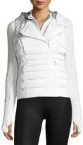 Blanc Noir 3-in-1 Satin Packable Moto Jacket & Vest, White