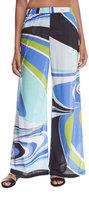 Emilio Pucci Jersey Libellula Coverup Pants, Blue Pattern