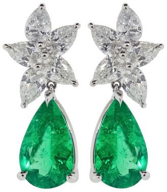 Kwiat Diamond and Emerald Drop Earrings