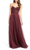 La Femme Women's Embellished Strapless Gown