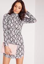 Missguided High Neck Curve Hem Snake Print Bodycon Dress Grey